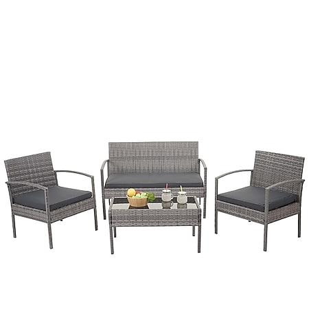 Poly-Rattan Garnitur MCW-F56, Balkon-/Garten-/Lounge-Set Sitzgruppe ~ grau, Kissen dunkelgrau - Bild 1