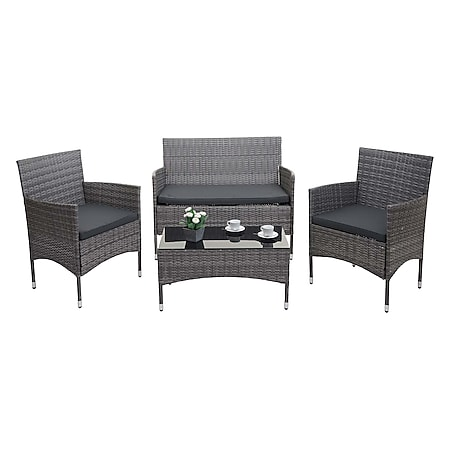Poly-Rattan Garnitur MCW-F55, Balkon-/Garten-/Lounge-Set Sofa Sitzgruppe ~ grau, Kissen dunkelgrau - Bild 1