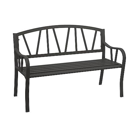 Gartenbank MCW-F53, Bank Parkbank Sitzbank, 2-Sitzer pulverbeschichteter Stahl ~ schwarz - Bild 1