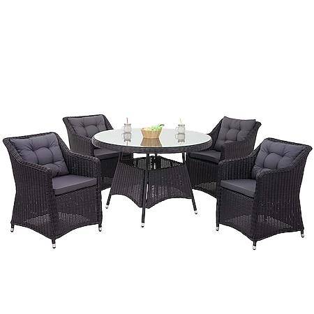 Poly-Rattan Garnitur MCW-F51, Garten-/Lounge-Set Sitzgruppe Tisch+4xStuhl, rundes Rattan anthrazit Kissen dunkelgrau - Bild 1