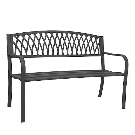 Gartenbank MCW-F45, Bank Parkbank Sitzbank, 2-Sitzer pulverbeschichteter Stahl ~ schwarz - Bild 1