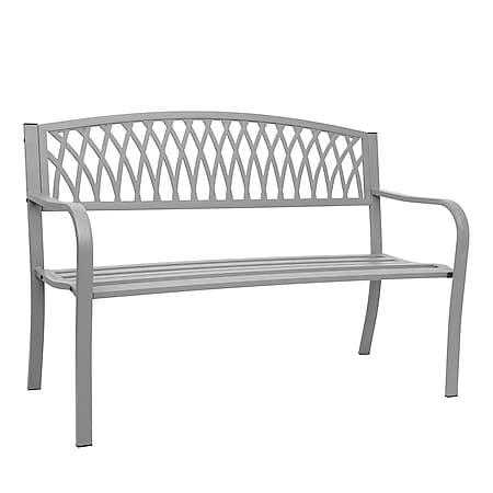 Gartenbank MCW-F45, Bank Parkbank Sitzbank, 2-Sitzer pulverbeschichteter Stahl ~ grau - Bild 1