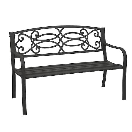 Gartenbank MCW-F44, Bank Parkbank Sitzbank, 2-Sitzer pulverbeschichteter Stahl ~ schwarz - Bild 1