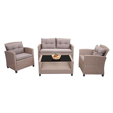 XXL Poly-Rattan Garnitur MCW-F10, Balkon-/Garten-/Lounge-Set Sitzgruppe, Sofa Sessel mit Kissen Spun Poly ~ grau-braun - Bild 1