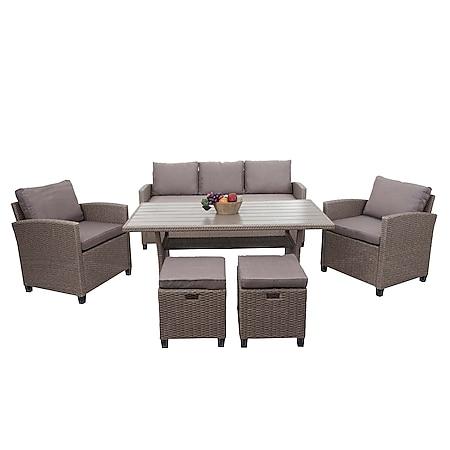 Poly-Rattan Garnitur MCW-E95, Garten-/Lounge-Set Sofa Sitzgruppe, Tischplatte WPC Spun Poly halbrundes Rattan grau - Bild 1