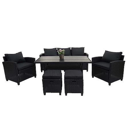 Poly-Rattan Garnitur MCW-E95, Garten-/Lounge-Set Sitzgruppe, Spun Poly halbrundes Rattan ~ schwarz, Kissen anthrazit - Bild 1