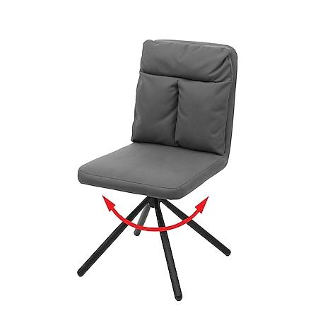 Esszimmerstuhl MCW-G58, Küchenstuhl Stuhl, drehbar Auto-Position Textil/Stoff ~ grau - Bild 1