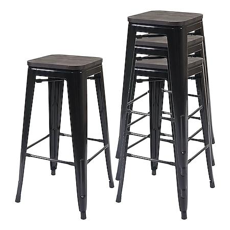 4x Barhocker MCW-A73 inkl. Holz-Sitzfläche, Barstuhl Tresenhocker, Metall Industriedesign stapelbar ~ schwarz - Bild 1