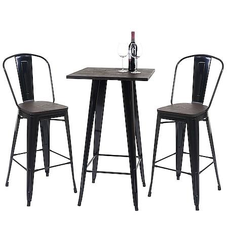 Set Stehtisch + 2x Barhocker MCW-A73 inkl. Holz-Tischplatte, Barstuhl Bartisch, Metall Industriedesign ~ schwarz - Bild 1