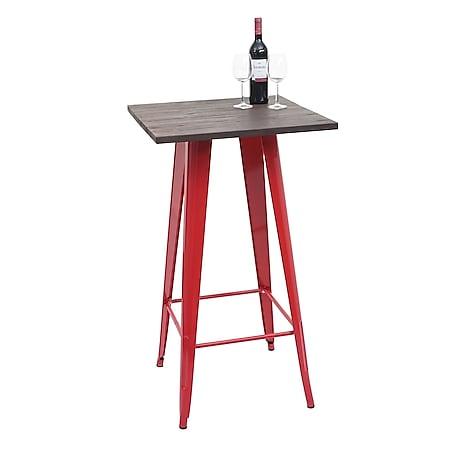 Stehtisch MCW-A73 inkl. Holz-Tischplatte, Bistrotisch Bartisch, Metall Industriedesign 107x60x60cm ~ rot - Bild 1