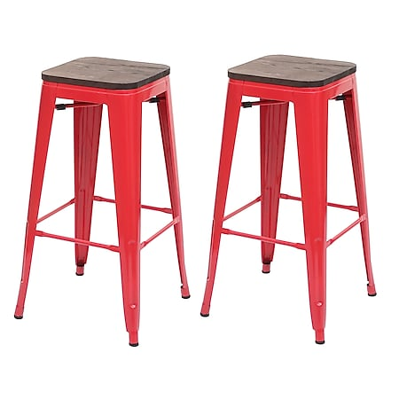 2x Barhocker MCW-A73 inkl. Holz-Sitzfläche, Barstuhl Tresenhocker, Metall Industriedesign stapelbar ~ rot - Bild 1