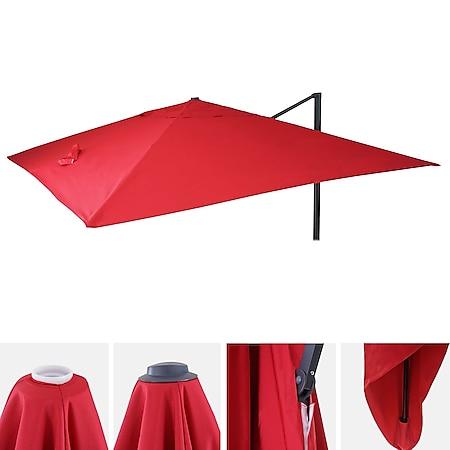 Bezug für Luxus-Ampelschirm MCW-A96, Sonnenschirmbezug Ersatzbezug, 3,5x3,5m (Ø4,95m) Polyester 4kg ~ rot - Bild 1