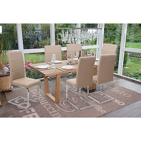 6x Esszimmerstuhl MCW-F27, Freischwinger Küchenstuhl, Kunstleder ~ creme, Gestell verchromt - Bild 1