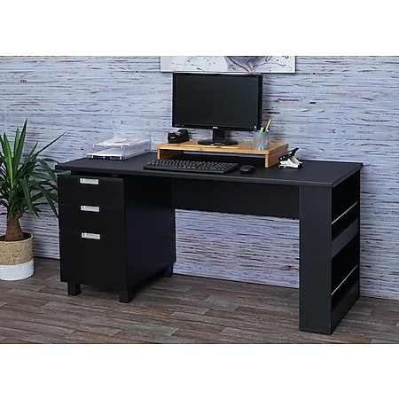Schreibtisch MCW-F63, Bürotisch Computertisch Arbeitstisch, 150x60cm ~ schwarz - Bild 1