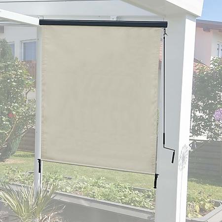 Vertikalmarkise MCW-F42, Senkrechtmarkise Sichtschutz Außenrollo Rollo, UV-Schutz 50 Stoff ~ 250x140cm, creme-beige - Bild 1