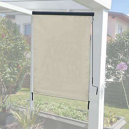 Vertikalmarkise MCW-F42, Senkrechtmarkise Sichtschutz Außenrollo Rollo, UV-Schutz 50 Stoff ~ 250x100cm, creme-beige - Bild 1