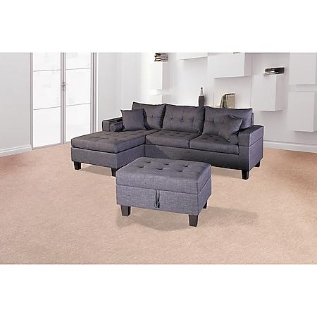 Home Deluxe Polsterecke Rom Sofa rechts, mit Hocker - Bild 1