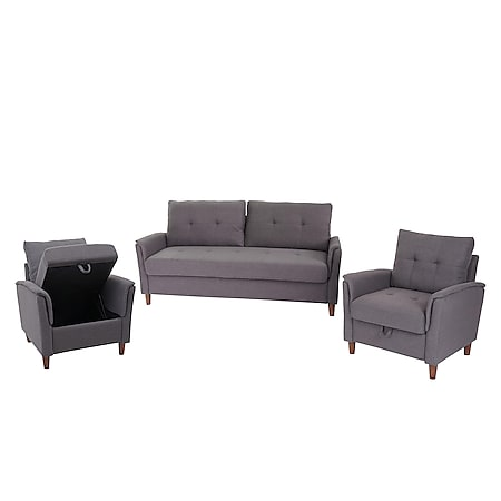 3-1-1 Couchgarnitur MCW-H23, 3er Sofa Sofagarnitur Loungesessel Relaxsessel, Gastronomie Staufach ~ Stoff/Textil, grau - Bild 1