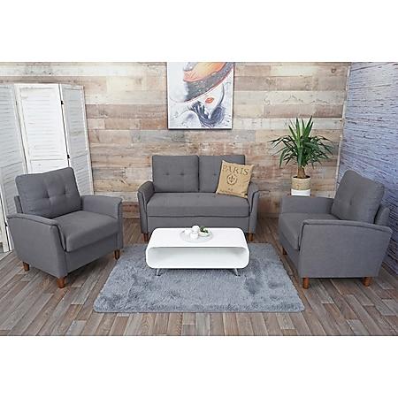 2-1-1 Couchgarnitur MCW-H23, 2er Sofa Sofagarnitur Loungesessel Relaxsessel, Gastronomie Staufach ~ Stoff/Textil, grau - Bild 1