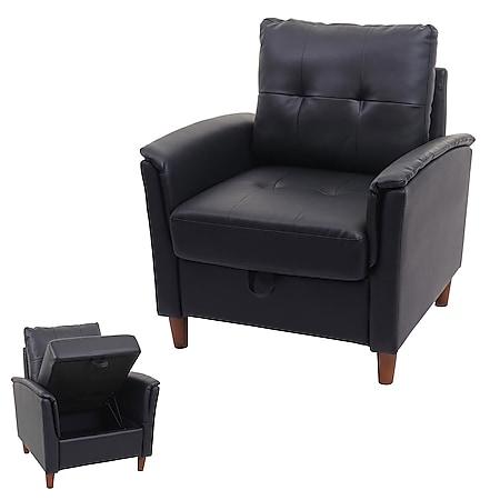 Sessel MCW-H23, Loungesessel Cocktailsessel Relaxsessel Fernsehsessel, Stecksystem Staufach ~ Kunstleder, schwarz - Bild 1