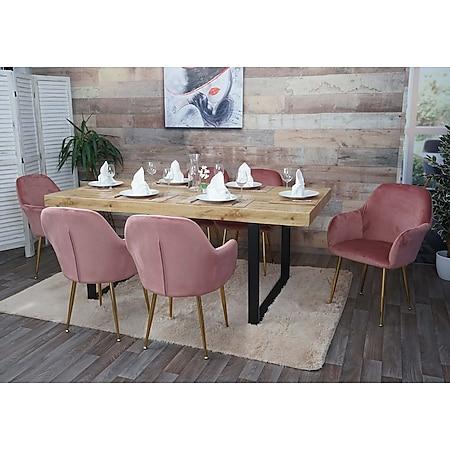6x Esszimmerstuhl MCW-F18, Stuhl Küchenstuhl, Retro Design ~ Samt altrosa, goldene Beine - Bild 1