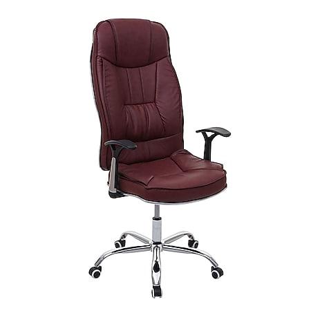Bürostuhl MCW-F14, Schreibtischstuhl Chefsessel Drehstuhl, 150kg belastbar Kunstleder ~ bordeaux - Bild 1