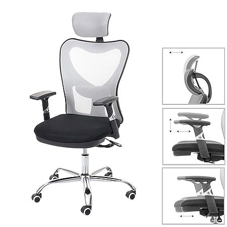 Bürostuhl MCW-F13, Schreibtischstuhl Drehstuhl, Sliding-Funktion 150kg belastbar Stoff/Textil ~ schwarz/grau - Bild 1