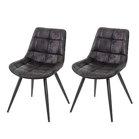 2x Esszimmerstuhl MCW-E57, Stuhl Cocktailstuhl Küchenstuhl Polsterstuhl, Retro Wildleder-Optik ~ Stoff/Textil schwarz - Bild 1
