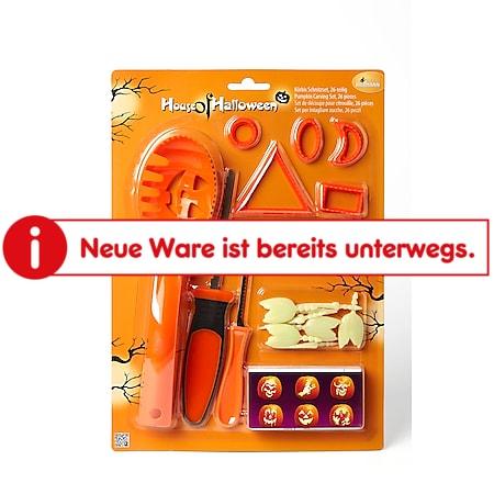 Kürbisschnitz-Set mit Schablonen, orange, 26 tlg. - Bild 1