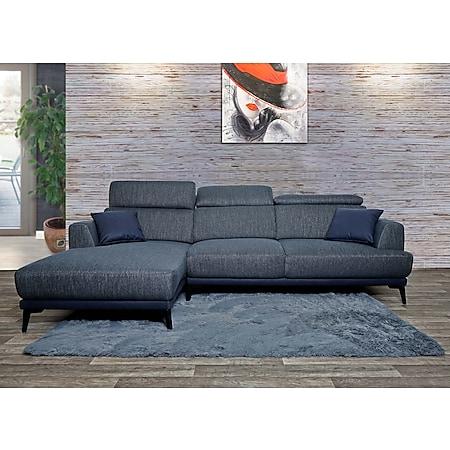 Sofa MCW-G44, Couch Ecksofa L-Form 3-Sitzer, Liegefläche Nosagfederung Taschenfederkern verstellbar ~ links, dunkelgrau - Bild 1