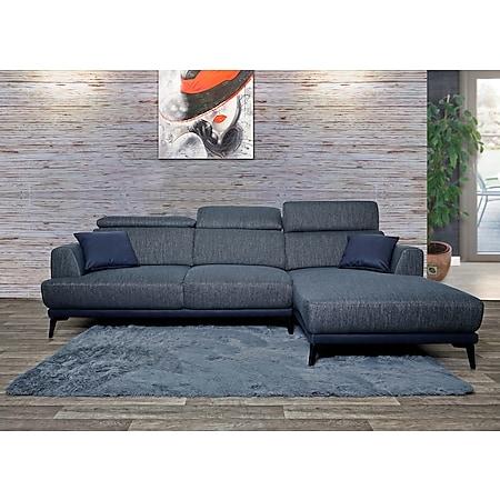Sofa MCW-G44, Couch Ecksofa L-Form 3-Sitzer, Liegefläche Nosagfederung Taschenfederkern verstellbar ~ rechts, dunkelgrau - Bild 1
