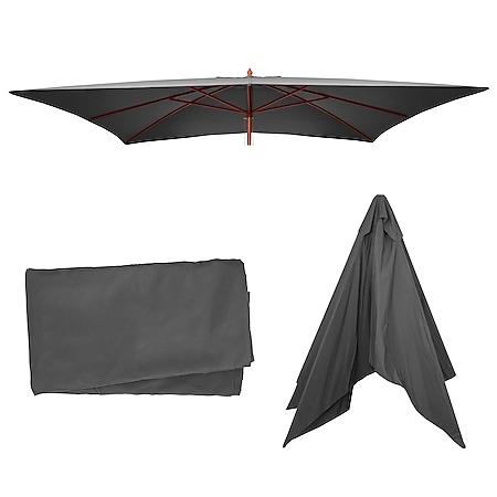 Bezug für Sonnenschirm Lissabon, Sonnenschirmbezug Ersatzbezug, 3x4m Polyester 6kg ~ anthrazit - Bild 1