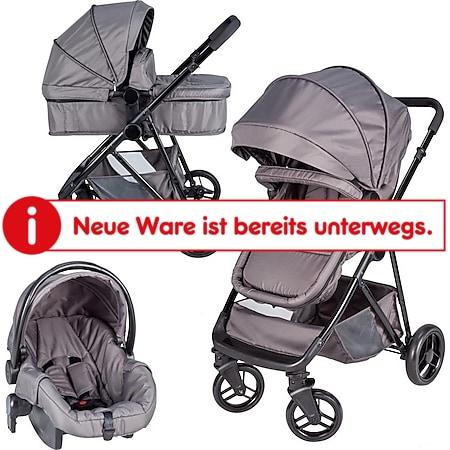 Bebies First Optima 3in1 Kombi-Kinderwagen inkl. Gr. 0 Autobabyschale Grau - Bild 1