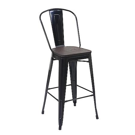 Barhocker MCW-A73 inkl. Holz-Sitzfläche, Barstuhl Tresenhocker mit Lehne, Metall Industriedesign ~ schwarz - Bild 1