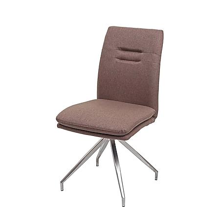 Esszimmerstuhl MCW-H70, Küchenstuhl Lehnstuhl Stuhl, Stoff/Textil Edelstahl gebürstet ~ braun - Bild 1