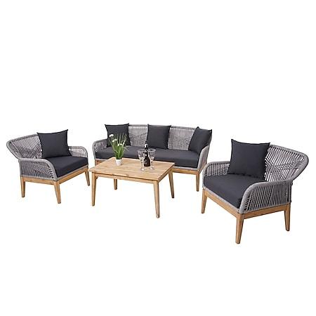 Gartengarnitur MCW-H56, Lounge-Set Sitzgruppe Sofa, Seilgeflecht Massivholz Akazie Spun Poly ~ Kissen dunkelgrau - Bild 1