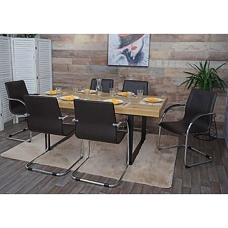 6x Esszimmerstuhl Perm, Freischwinger Küchenstuhl Lehnstuhl Stuhl, PVC Stahl ~ braun - Bild 1
