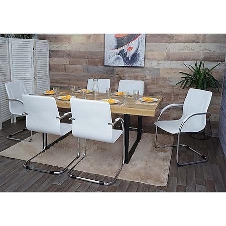 6x Esszimmerstuhl Perm, Freischwinger Küchenstuhl Lehnstuhl Stuhl, PVC Stahl ~ weiß - Bild 1