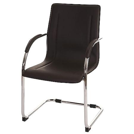 Esszimmerstuhl Perm, Freischwinger Küchenstuhl Lehnstuhl Stuhl, PVC Stahl ~ braun - Bild 1
