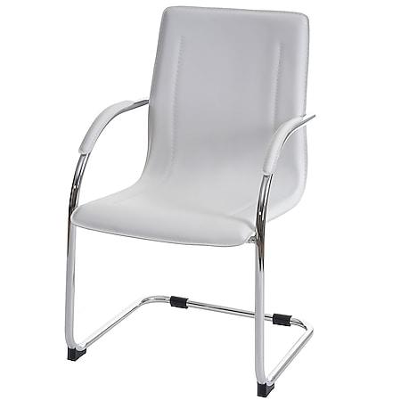 Esszimmerstuhl Perm, Freischwinger Küchenstuhl Lehnstuhl Stuhl, PVC Stahl ~ weiß - Bild 1