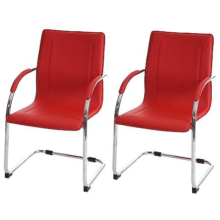 2x Esszimmerstuhl Perm, Freischwinger Küchenstuhl Lehnstuhl Stuhl, PVC Stahl ~ rot - Bild 1