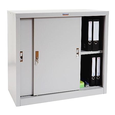 Aktenschrank Valberg H333, Metallschrank Büroschrank Stahlschrank, 2 Schiebetüren 83x91x46cm, grau - Bild 1