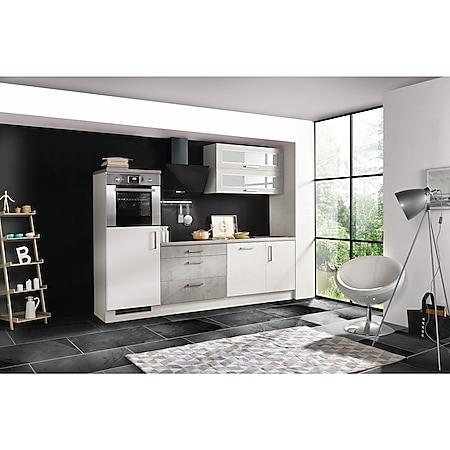 Respekta Premium Küchenzeile MERP260HWB 260cm weiß Hochglanz Lack - Beton-Optik - Bild 1