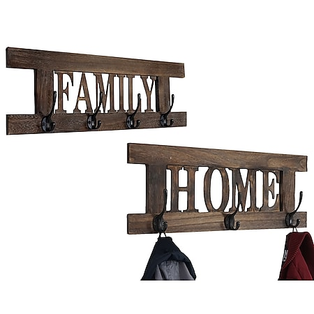 2er Wandgarderoben Set Zuhause+Familie, Shabby-Look Vintage ~ braun, shabby - Bild 1
