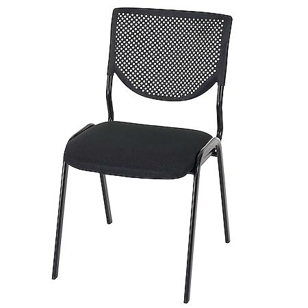 Besucherstuhl H401, Konferenzstuhl stapelbar, Stoff/Textil ~ Sitz schwarz, Füße schwarz - Bild 1