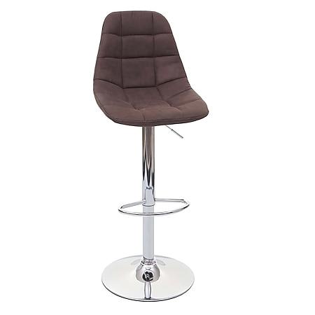 Barhocker MCW-A67, Barstuhl Tresenhocker ~ vintage dunkelbraun Stoff/Textil, Fuß chrom - Bild 1