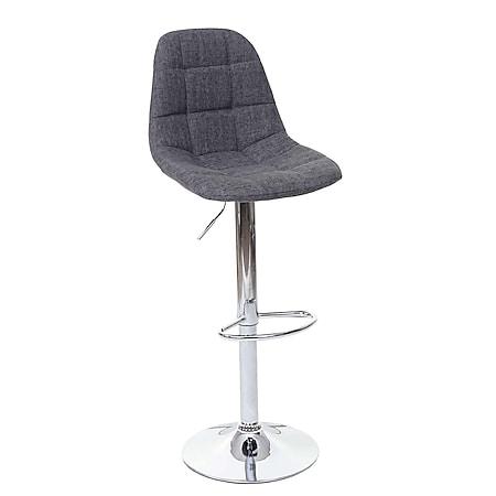 Barhocker MCW-A67, Barstuhl Tresenhocker ~ grau Stoff/Textil, Fuß chrom - Bild 1