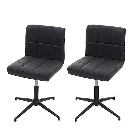 2x Esszimmerstuhl Cadiz II, Stuhl Küchenstuhl, höhenverstellbar Drehmechanismus ~ Kunstleder dunkelgrau, Fuß schwarz - Bild 1