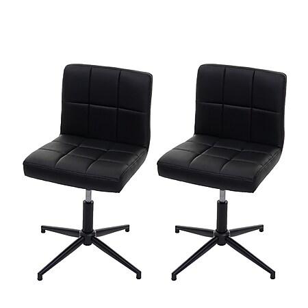 2x Esszimmerstuhl Cadiz II, Stuhl Küchenstuhl, höhenverstellbar Drehmechanismus ~ Kunstleder schwarz, Fuß schwarz - Bild 1