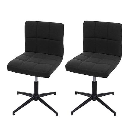 2x Esszimmerstuhl Cadiz II, Stuhl Küchenstuhl, höhenverstellbar Drehmechanismus ~ Stoff/Textil dunkelgrau, Fuß schwarz - Bild 1